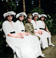 Grand Duchesses Olga, Tatiana, Maria, Anastasia of Russia with their brother Grand Duke Alexei, 1916.