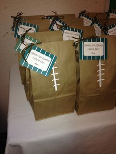 "Football party favor bags. ""Thanks for coming. I had a ball!"""