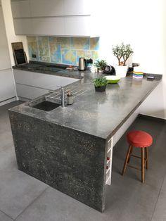 Bespoke Cast In Situ L Shaped Polished Concrete Kitchen