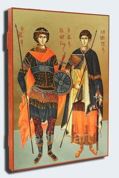 Icoana pictata Sfintii Mucenici Gheorghe si Dimitrie 30×42 cm