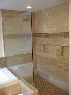 Travertine Bathroom - contemporary - bathroom - tampa - by Domino Design Build Inc