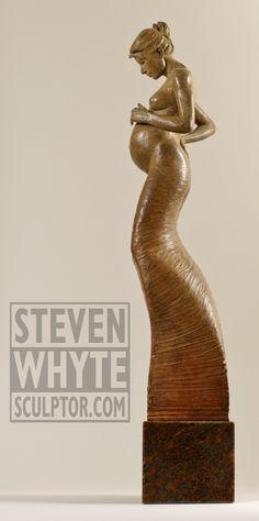 'Nurture' from the 'Stance' series. Bronze Figurative sculpture by sculptor Steven Whyte, Carmel, California. Www.facebook.com/stevenwhytecarmel