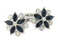 Swarovski Crystal Flower Cufflinks Blue Cuff-Daddy. $33.99