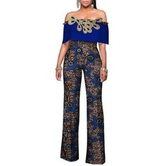High Waist Bodysuit Africa Rompers Out Off Shoulder Long Pants for Women
