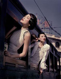 sunbathing with cheongsam at train windows, by wing shya.