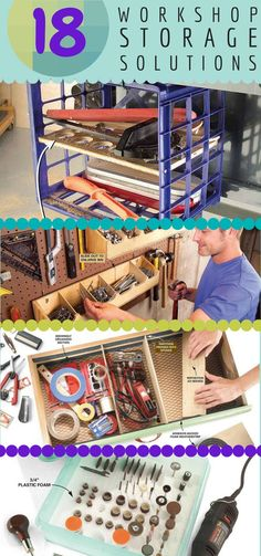 18 Quick and Clever Workshop Storage Solutions: Tame the clutter in Dad's workshop so he can work smarter with these ingenious storage tips.  #FathersDay http://www.familyhandyman.com/workshop/storage/quick-and-clever-workshop-storage-solutions