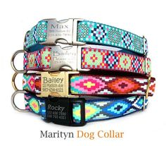 Personalized dog collar Laser engraved dog collar Bohemian boho chic ID tag metal buckle pet collar Valentine's day girl dog boy dog collar