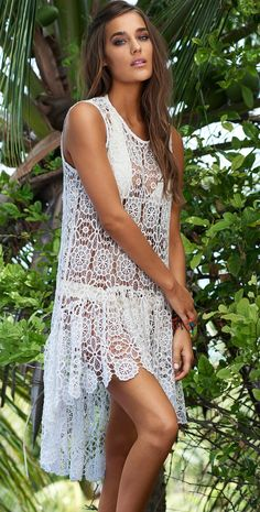 The PilyQ Keshi Pearl Island Lace Dress is simply feminine featuring white see through lace detail throughout. Sleeveless with a loose fit through the body. Casual Summer Dresses, Short Dresses, Lace Dresses, Pilyq, Beach Cover Ups, See Through, Chic Outfits, Dresses For Sale, White Dress