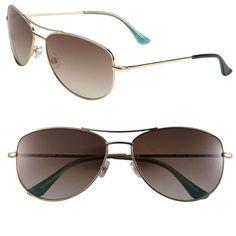 'ally' Aviator Sunglasses ($138) ❤ liked on Polyvore