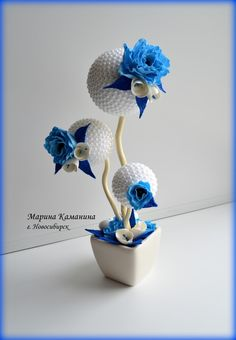 Easy tree decorations ribbons Ideas for 2019 Christmas Tree Decorations, Flower Decorations, Wedding Decorations, Handmade Crafts, Diy And Crafts, Arts And Crafts, Tree Wallpaper Art, Topiary Centerpieces, Styrofoam Crafts