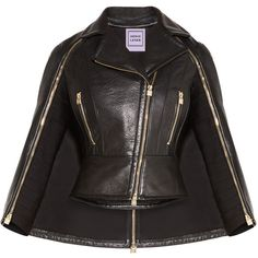 Herve Leger Bennet Leather Cape Jacket ($2,540) ❤ liked on Polyvore featuring outerwear, jackets, cropped motorcycle jacket, leather moto jacket, genuine leather jackets, leather jackets and cape coat