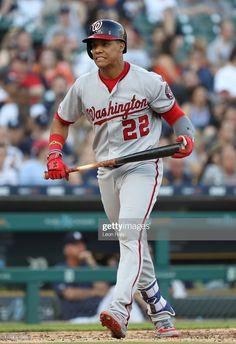 News Photo : Juan Soto of the Washington Nationals reacts. Washington Nationals Baseball, Messi And Ronaldo, Golf Stores, Detroit Tigers, Sports Fan Shop, Baseball Cards, Mlb, News, Baseball Pictures