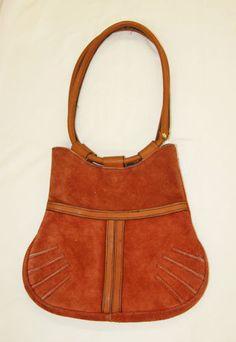 952ceea85d41 Vintage 1970 s Orange Suede Handbag