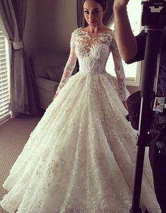 Princess A Line V Neck Empire Waist White Lace backless Wedding Dresses,Custom Made Wedding Dress