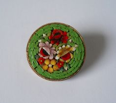 Vintage Micro Mosaic Pin Red Yellow Flowers by nothingfancyorgrand
