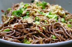 This Spicy Soba Noodle recipe from smittenkitchen.com was fab for dinner! I  didn't have sesame seeds so I subbed the vegetable oil for sesame oil and used only about 2 TBSP. I also included a thinly sliced bell pepper with the mushrooms then tossed in cooked, cubed chicken at the end. Enjoy!