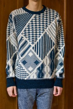 Mens patterned sweater - Knit geometric abstract cosby pullover - Blue & white winter mens sweater - Size M