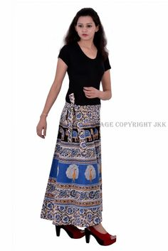 Skirt Indian Women Printed Blue Color Wrap Around Cotton Calf Long Skirt Wrap Around Skirt, Elephant Print, Cotton Skirt, Calves, Women Wear, Indian, Womens Fashion, Skirts, How To Wear