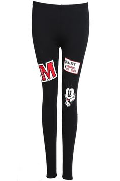 Black Slim Mickey Embroidered Leggings 12.67