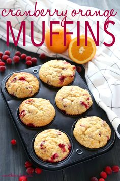 These Cranberry Orange Muffins are packed with tart cranberries and zesty orange flavour and they make the perfect sweet treat or snack! They're the perfect recipe for beginning bakers because they're easy to make with simple ingredients! Recipe from theb Muffin Recipes, Brunch Recipes, Gourmet Recipes, Baking Recipes, Dessert Recipes, Healthy Recipes, Fine Cooking Recipes, Baking Ideas, Drink Recipes