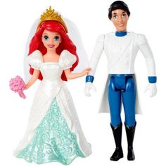 Disney Princess Little Kingdom Magiclip Ariel Fairytale Wedding Dolls, Multicolor