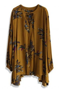 Keep Swinging Floral Tunic in Tan - Dress - Retro, Indie and Unique Fashion