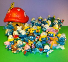1980's Smurfs-rode my bike with my friend Heather to the Gift Barn once a week after school to buy a new smurf for $1.50 and then going to Titus for a twist donut & chocolate milk. ...those were the days
