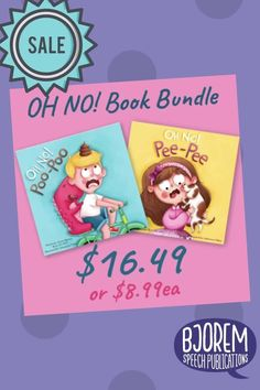 "Get both of the OH NO Books - OH NO Poo Poo and OH NO Pee Pee in this bundle! Making ""potty talk"" functional and fun! #bjoremspeech #pottytrainingbooks #booksforspeechtherapy #speechtherapy #speechtherapybooks"