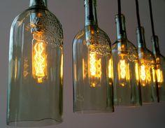 "Vintage Flaschenlampe, pendant bottle lamp   ""cinco"""