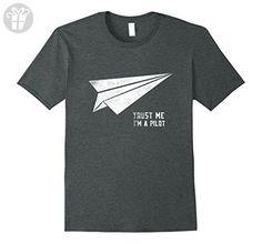 Mens Trust Me I'm Pilot Origami Funny Tee Aircraft F-15 F-16 F-22 Large Dark Heather - Funny shirts (*Amazon Partner-Link)