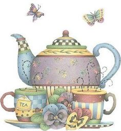 Tea for Two ~ artesanato Image Deco, Pintura Country, Country Paintings, Teapots And Cups, Tea Art, Decoupage Paper, My Cup Of Tea, Vintage Diy, Vintage Bakery