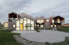 Danish architecture studio CEBRA has completed a pioneering project for a new type of care centre for marginalized children and teenagers. Future House, House Silhouette, Hostels, Kindergarten Design, 3d Home, Gable Roof, Roof Architecture, Kids House, Children's House