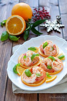 Gustose code di #gamberi all'arancia, idea #antipasto veloce, semplicissima e scenografica, per le feste. #ricette #menudinatale #antipastidipesce