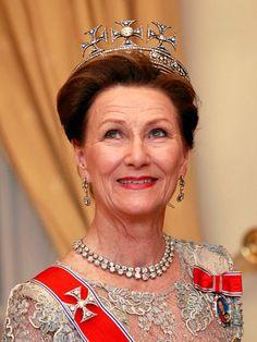 Queen Sonja, Queen consort of King Harald V, wearing Queen Maud's Malteser Tiara, Norway (early 20th c.; diamonds).