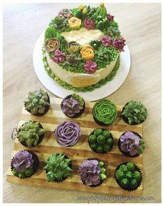 Succulent Wedding Cakes, Succulent Cupcakes, Raspberry Smoothie, Apple Smoothies, Cactus Cake, Buttercream Flower Cake, Salty Cake, Savoury Cake, Pretty Cakes