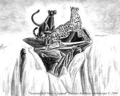 "Jaguars Waterfalls Graphite Sketch By ""Black UniGryphon"" Kandice Kathleen Zimbleman 烏獨角獸 任思麒"