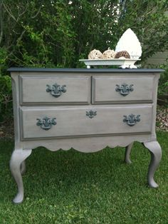 Sweet Petite Buffet painted in weathered gray chalk paint. Bedside table... grey bottom, teal top?