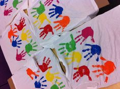 100th day t-shirts!  20 hands x 5 fingers = 100 fingers on each shirt!