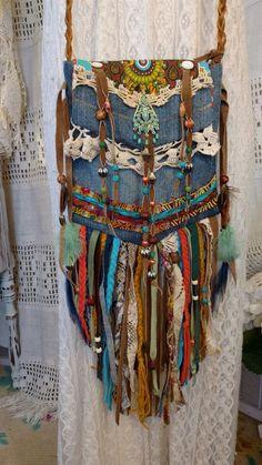 Handmade Denim Long Fringe Festival Cross Body Bag HIppie Boho Hobo Purse tmyers #Handmade #MessengerCrossBody