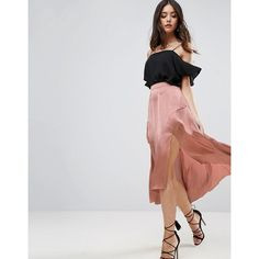 ASOS Midi Satin Skirt with Splices and Seam Detail (€45) ❤ liked on Polyvore featuring skirts, copper, high low skirt, high-waisted skirt, high-waist skirt, asos skirts and high rise skirt