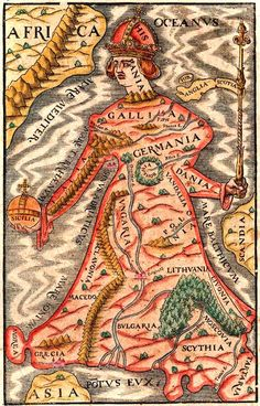 Map of Europe as a queen, printed by Sebastian Munster in Basel in 1570.  [::SemAp FB || SemAp G+::]