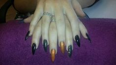 acrylics and gel polish with cnd additive pigment n glitter