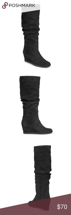 """Aerosoles. 2¼"""" covered wedge boots - like new Groundbreaking suede boot for those chilly days ahead. Knee-high pull-on boot with ruched suede upper offers you style and comfort, a la Aerosoles. 2¼"""" covered wedge and a memory foam footbed are extremely comfortable for walking. HEELREST technology dishes out even more great comfort as it shifts your body weight to your heel.  15 3/4"""" Shaft Height 15 3/4""""-18 1/4"""" Shaft Circumference Shaft Circumference Ranges by size from size 6 -11 AEROSOLES…"""