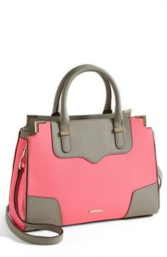 Rebecca Minkoff Pink & Grey Leather Satchel