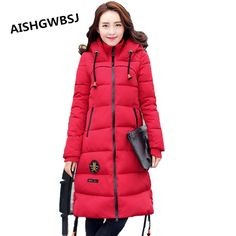 22c3dbe26ee AISHGWBSJ 2017 New Women Autumn Winter Hooded Cotton Coat Solid Color Slim Long  Fashionable Outerwear For