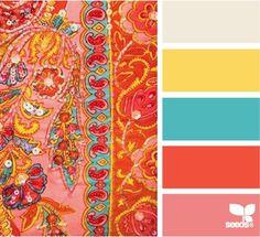 Blue, orange, yellow, pink color scheme