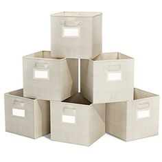 ClosetMate Foldable Cube Storage Bins  6 Pack  Decorative Fabric Storage Cubes are Collapsible and Great Organizer for Shelf Closet or Storage