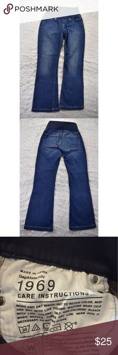 """Gap Maternity Bootcut Jeans Awesome Gap maternity jeans🔹Bootcut🔹Long & Lean style🔹Size 25/0 short🔹Used but in great condition!🔹Two front and two back pockets🔹Inseam is approx 29.25""""🔹Smoke and pet free home GAP Jeans Boot Cut"""