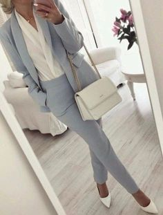 51 Perfect ideas for a professional work outfit - Wear to Work Outfits Outfits Casual, Office Outfits, Classy Outfits, Fashion Outfits, Casual Clothes, Women's Clothes, Blue Outfits, Hijab Casual, Stylish Work Outfits