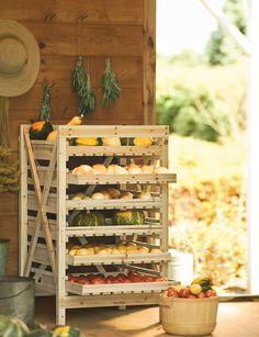 6 Drawer Orchard Rack - Gardener's Supply - Excellent for fruit harvest, and root vegetable storage. Vegetable Storage Rack, Wood Storage Rack, Wooden Rack, Food Storage, Produce Storage, Storage Ideas, Vegetable Stand, Storage Baskets, Herb Drying Racks